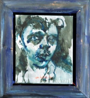 Zelfportret in blauwe lijst, Portrait a propos II