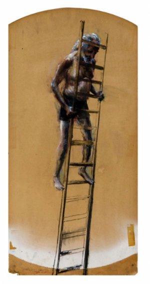 Man op ladder