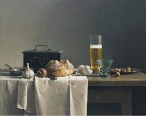 Stilleven met brood en bier